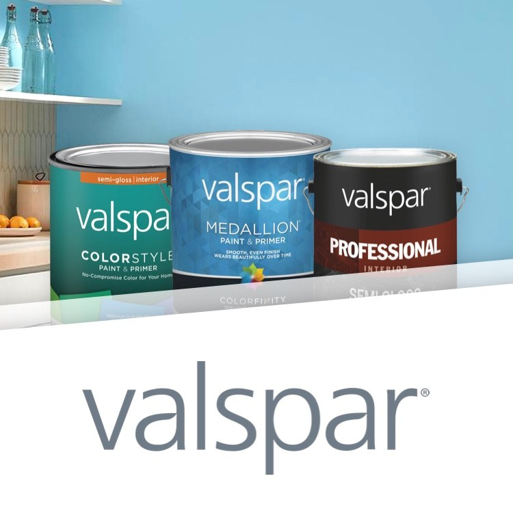 Valspar blue-painted room with Valspar logo and paint can