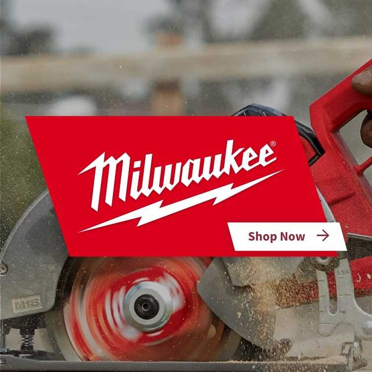 Milwaukee power saw with logo and shop now link