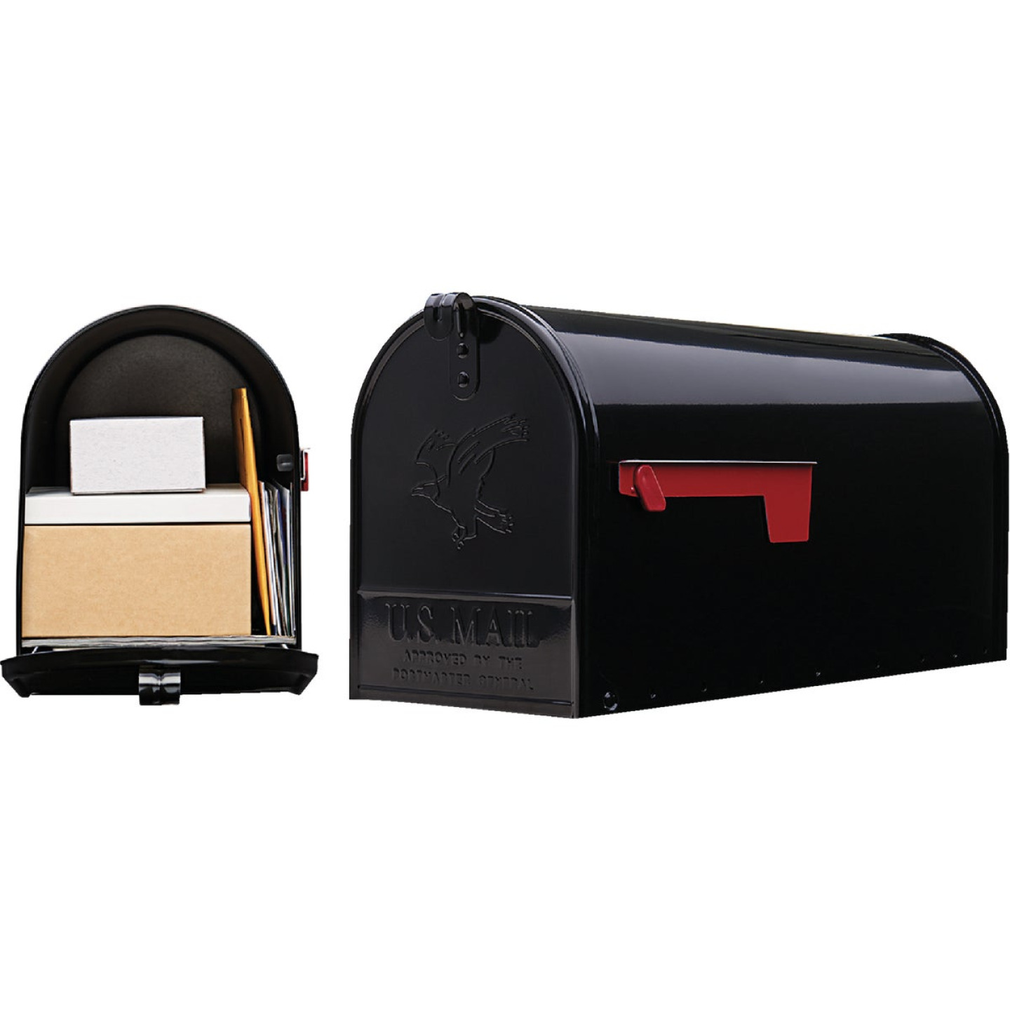 Gibraltar Elite T2 Large Black Steel Rural Post Mount Mailbox Image 1