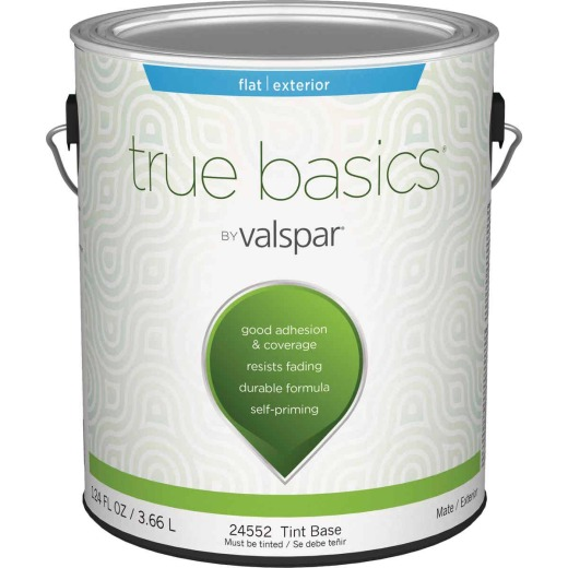 True Basics Flat Exterior House Paint, 1 Gal., Tint Base
