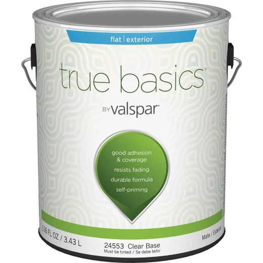 True Basics Flat Exterior House Paint, 1 Gal., Clear Base