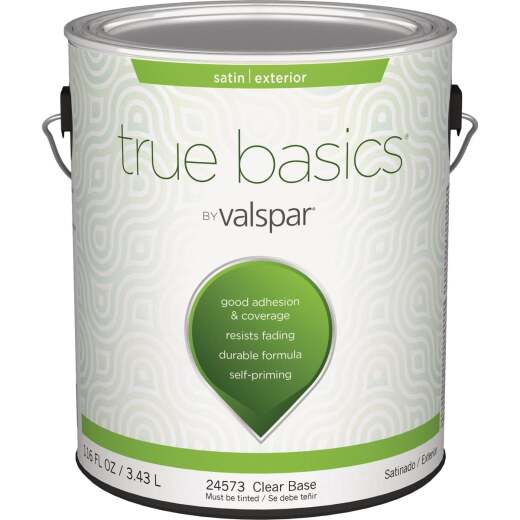 True Basics Satin Exterior House Paint, 1 Gal., Clear Base